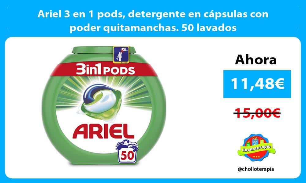 Ariel 3 en 1 pods detergente en cápsulas con poder quitamanchas. 50 lavados