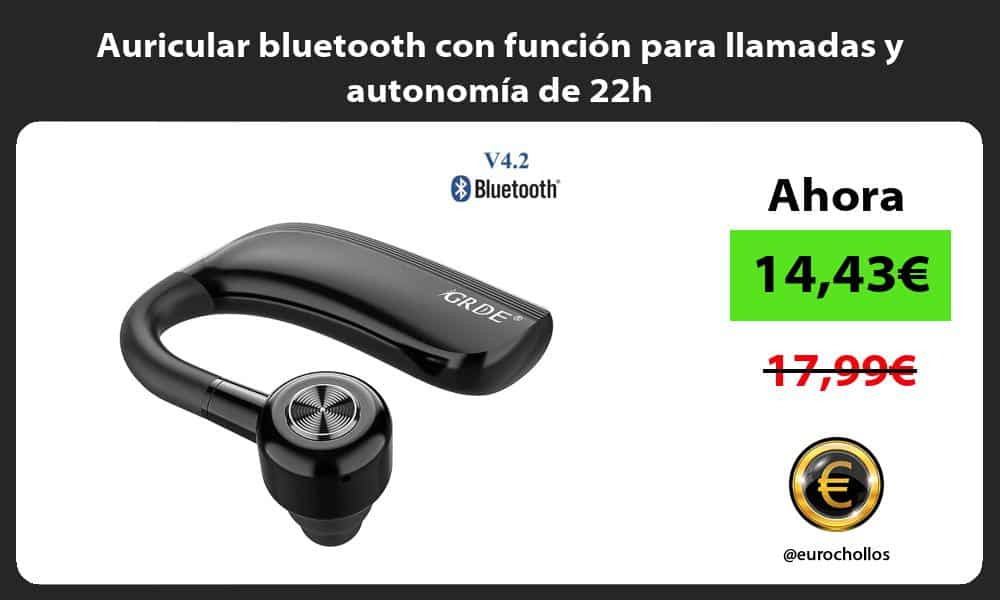 Auricular bluetooth con función para llamadas y autonomía de 22h
