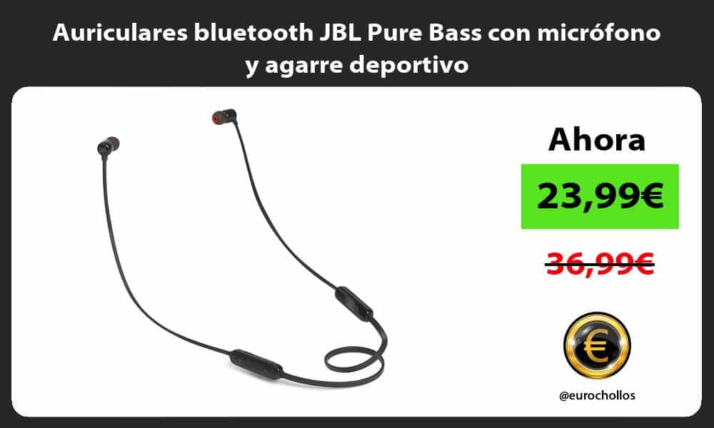 Auriculares bluetooth JBL Pure Bass con micrófono y agarre deportivo