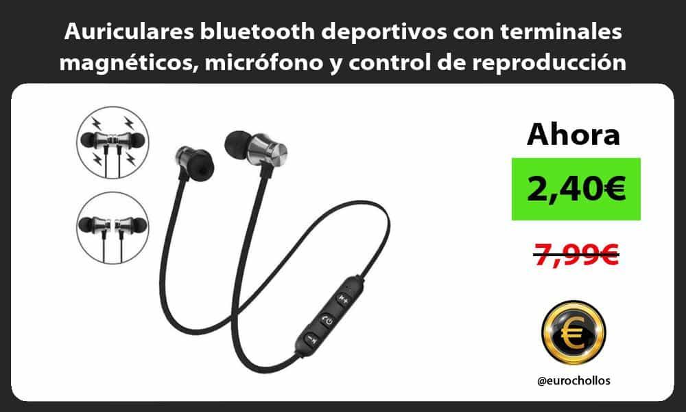 Auriculares bluetooth deportivos con terminales magnéticos micrófono y control de reproducción