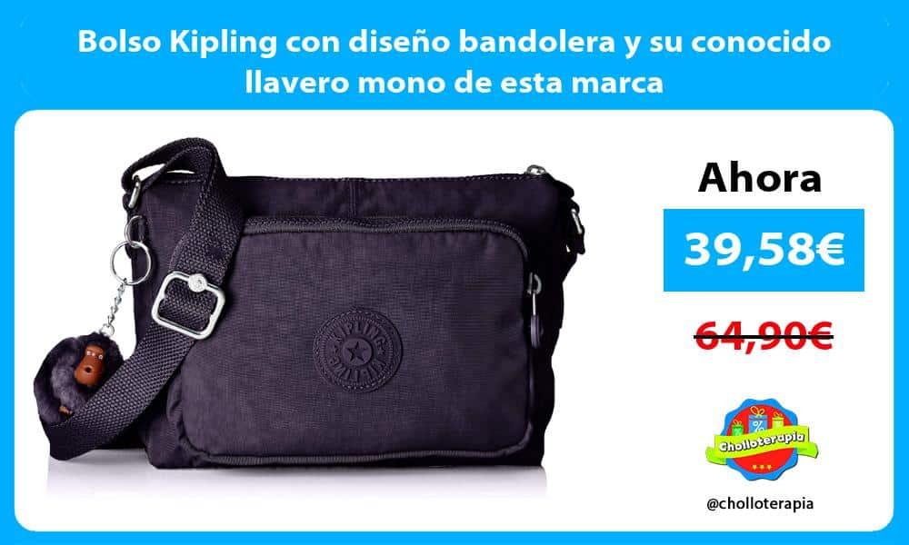 Bolso Kipling con diseño bandolera y su conocido llavero mono de esta marca