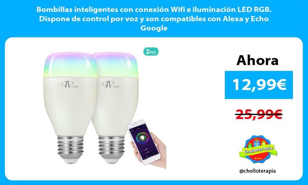 Bombillas inteligentes con conexión Wifi e iluminación LED RGB. Dispone de control por voz y son compatibles con Alexa y Echo Google