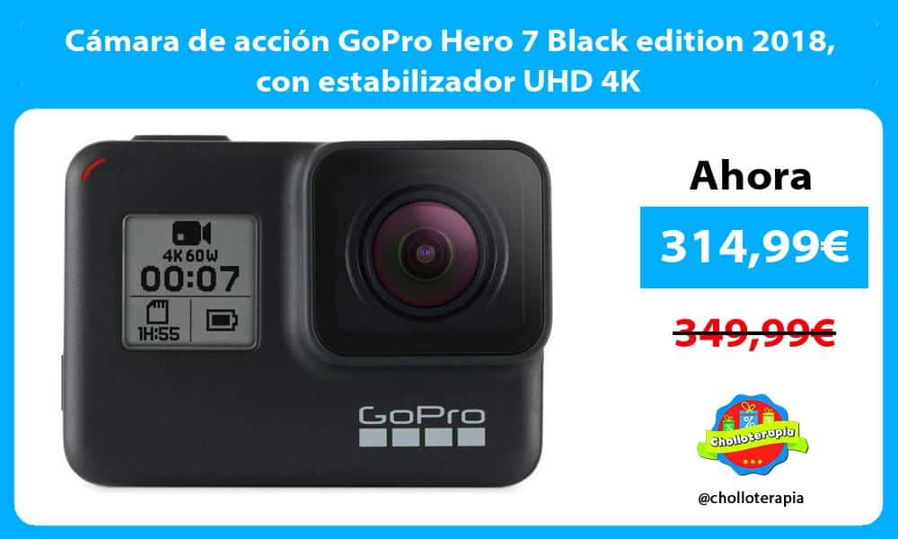 Cámara de acción GoPro Hero 7 Black edition 2018 con estabilizador UHD 4K