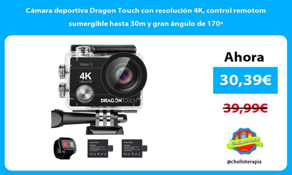 Cámara deportiva Dragon Touch con resolución 4K control remotom sumergible hasta 30m y gran ángulo de 170º
