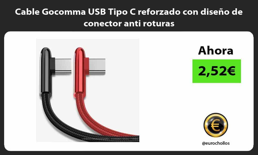 Cable Gocomma USB Tipo C reforzado con diseño de conector anti roturas