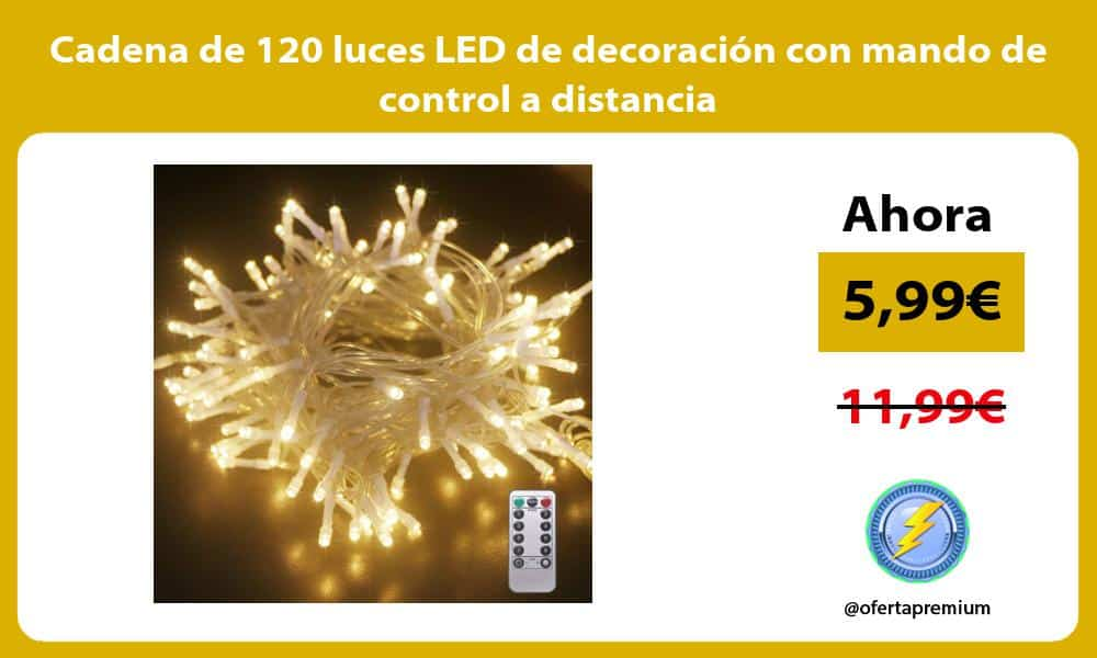 Cadena de 120 luces LED de decoración con mando de control a distancia