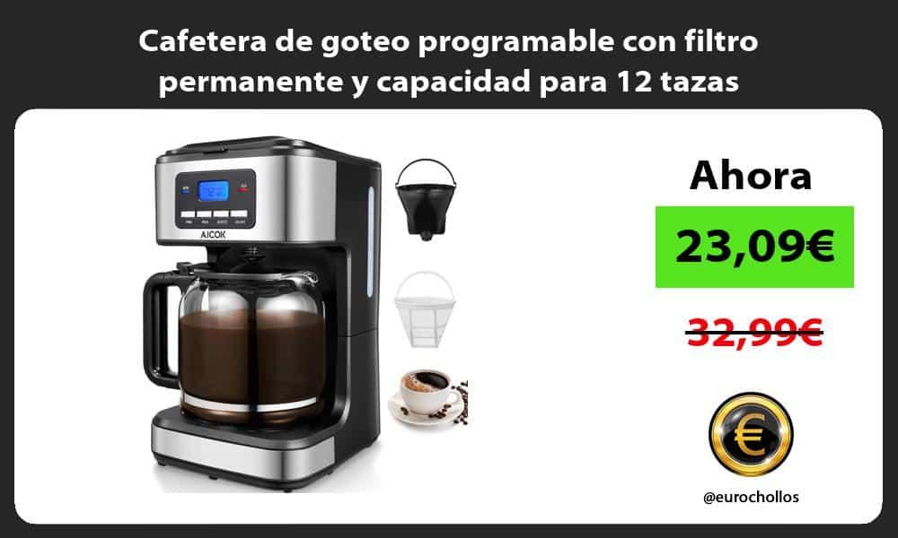 Cafetera de goteo programable con filtro permanente y capacidad para 12 tazas