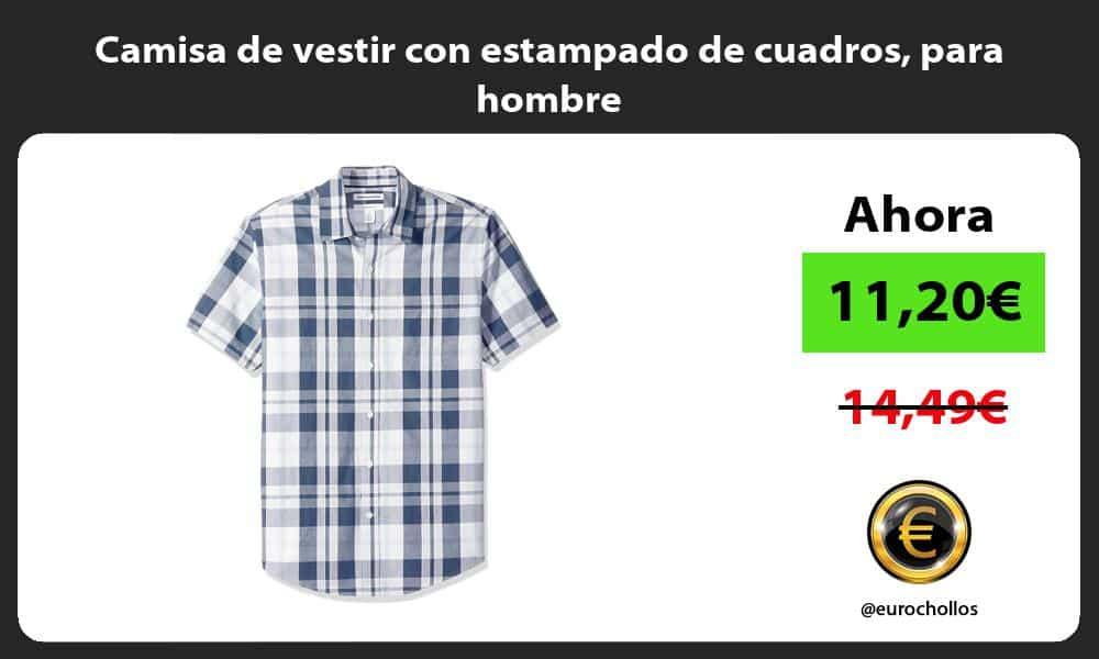 Camisa de vestir con estampado de cuadros para hombre