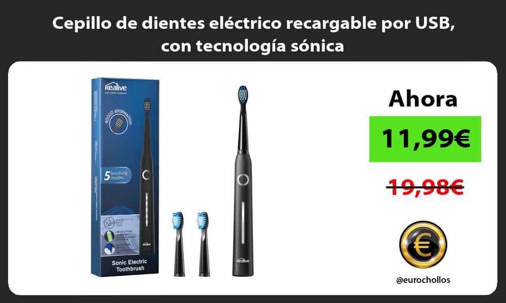 Cepillo de dientes eléctrico recargable por USB con tecnología sónica