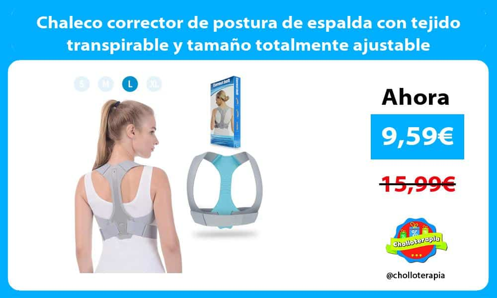 Chaleco corrector de postura de espalda con tejido transpirable y tamaño totalmente ajustable