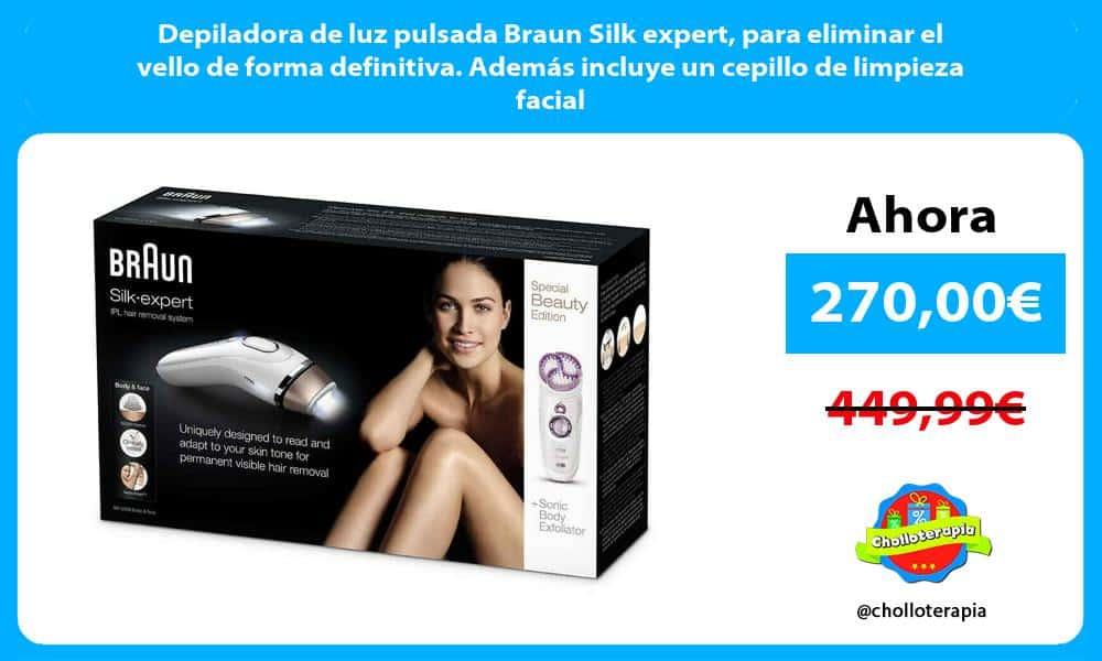 Depiladora de luz pulsada Braun Silk expert para eliminar el vello de forma definitiva. Además incluye un cepillo de limpieza facial