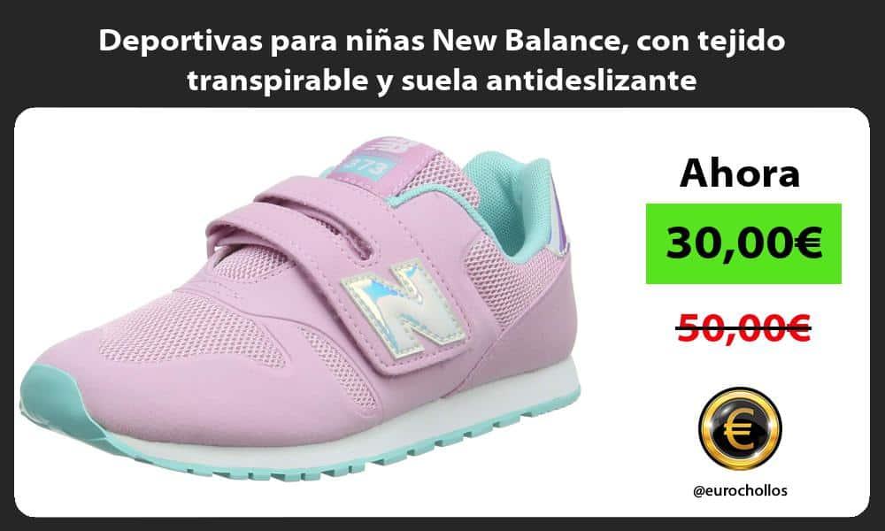 Deportivas para niñas New Balance con tejido transpirable y suela antideslizante