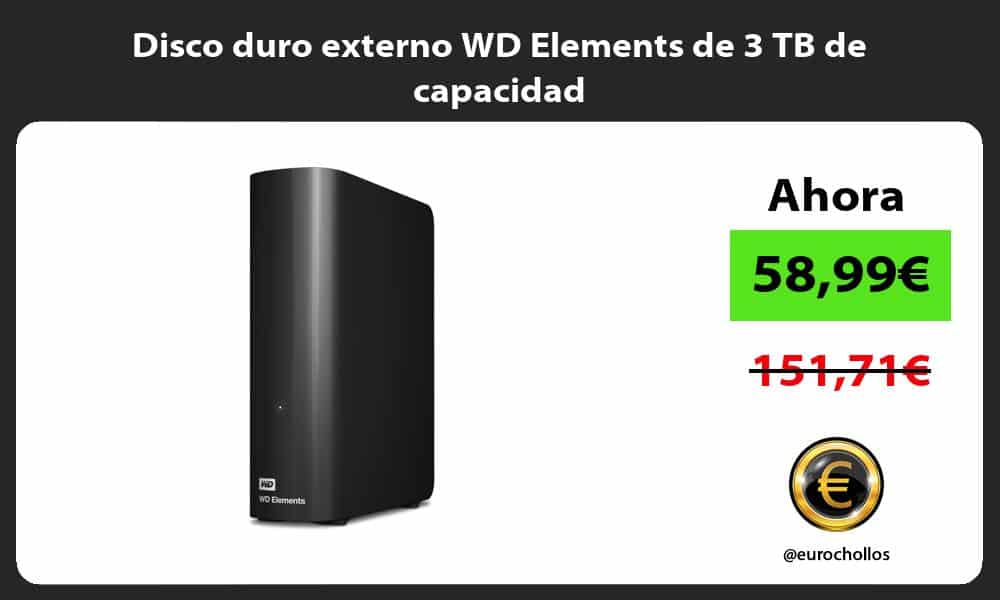 Disco duro externo WD Elements de 3 TB de capacidad