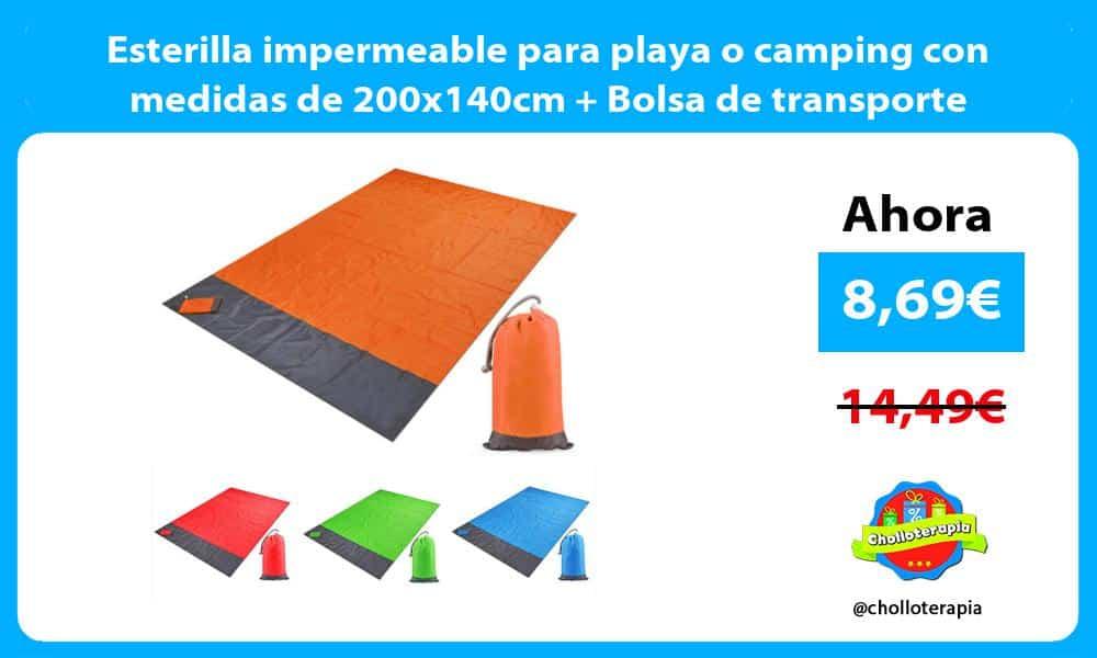 Esterilla impermeable para playa o camping con medidas de 200x140cm Bolsa de transporte