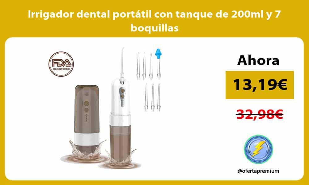 Irrigador dental portátil con tanque de 200ml y 7 boquillas