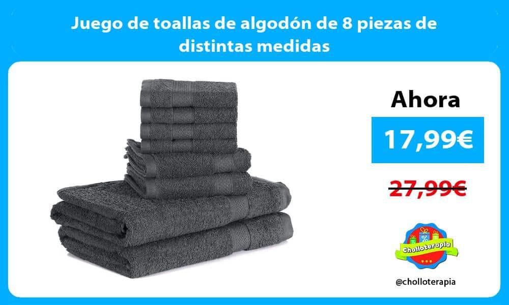 Juego de toallas de algodón de 8 piezas de distintas medidas