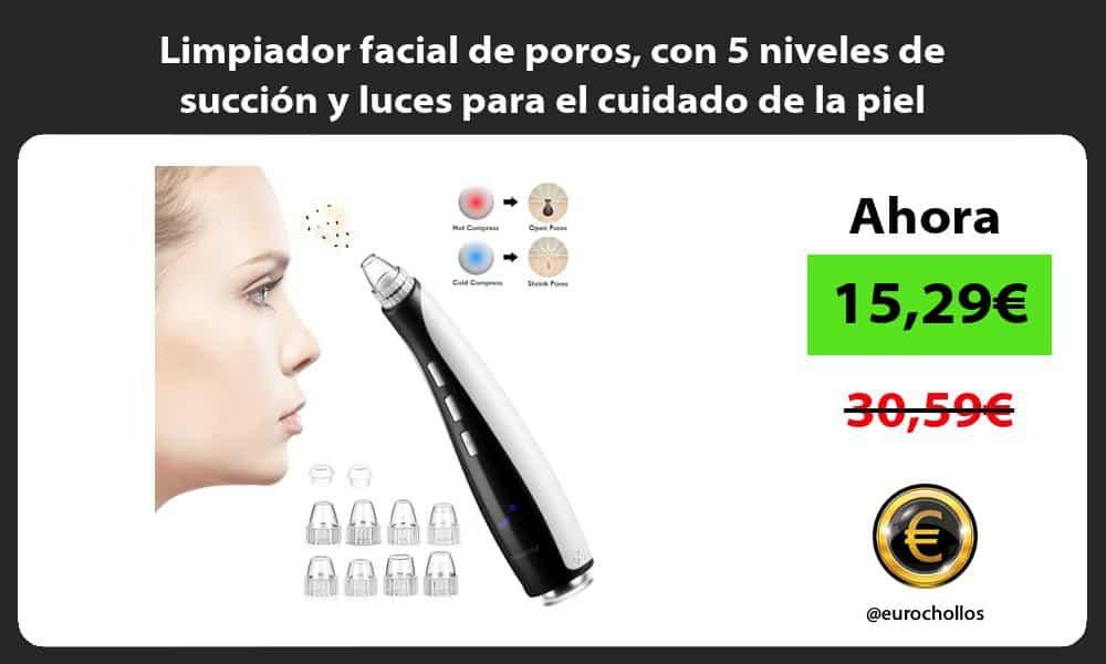 Limpiador facial de poros con 5 niveles de succión y luces para el cuidado de la piel