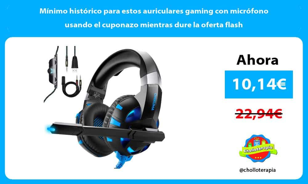 Mínimo histórico para estos auriculares gaming con micrófono usando el cuponazo mientras dure la oferta flash