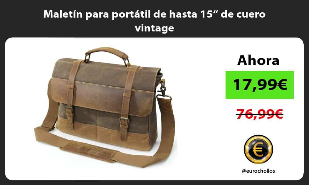 """Maletín para portátil de hasta 15"""" de cuero vintage"""