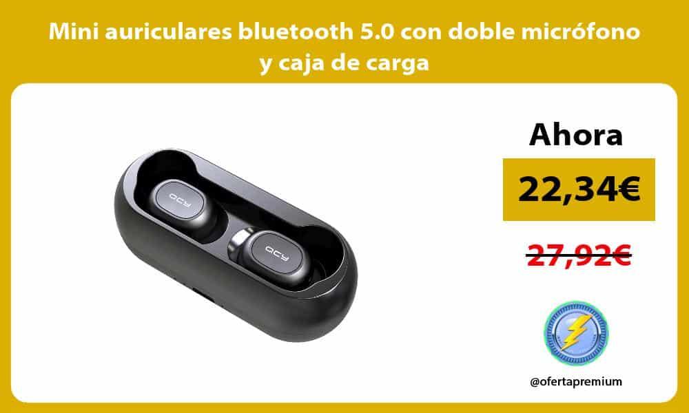 Mini auriculares bluetooth 5.0 con doble micrófono y caja de carga