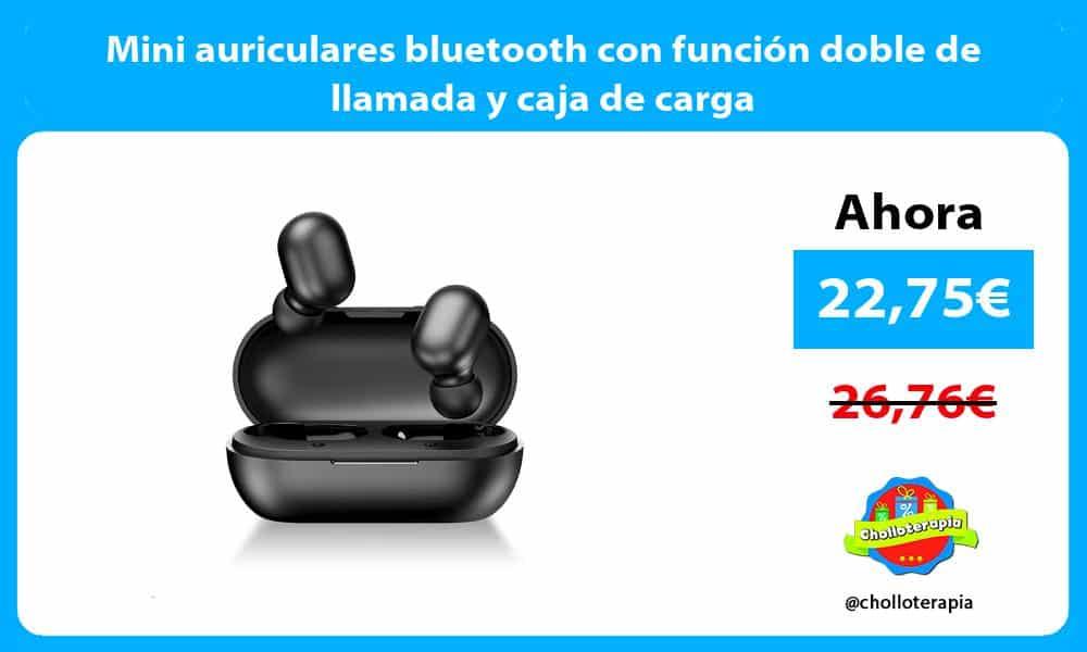 Mini auriculares bluetooth con función doble de llamada y caja de carga