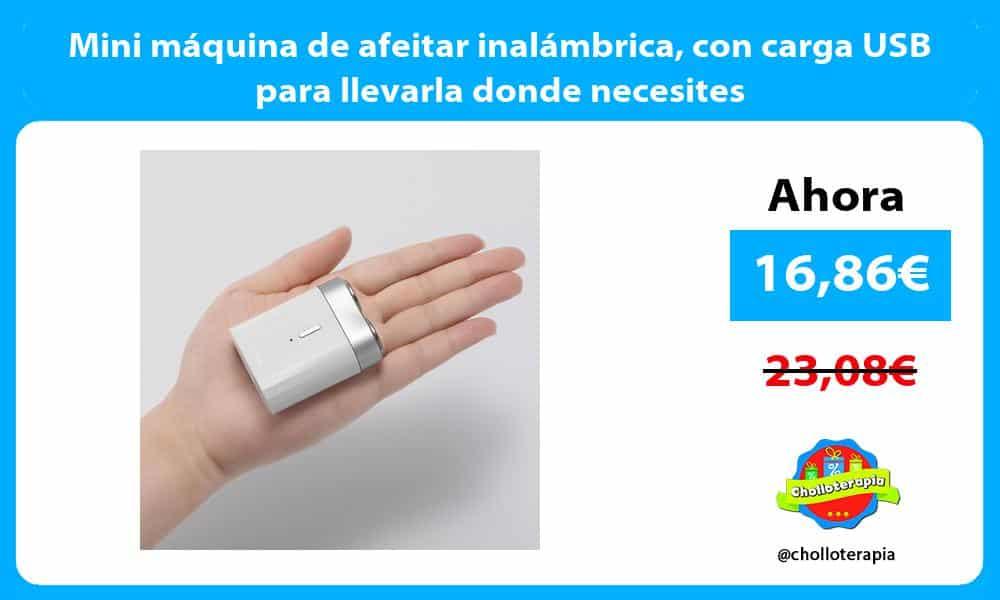 Mini máquina de afeitar inalámbrica con carga USB para llevarla donde necesites