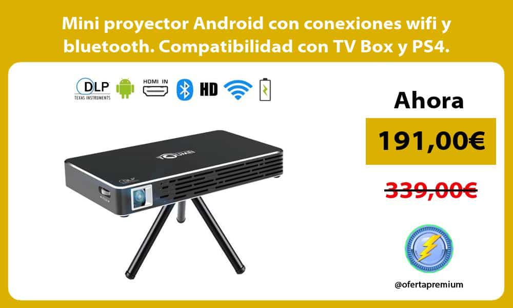 Mini proyector Android con conexiones wifi y bluetooth. Compatibilidad con TV Box y PS4.