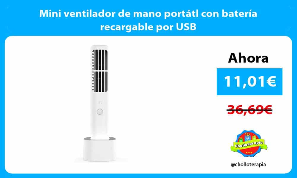 Mini ventilador de mano portátl con batería recargable por USB
