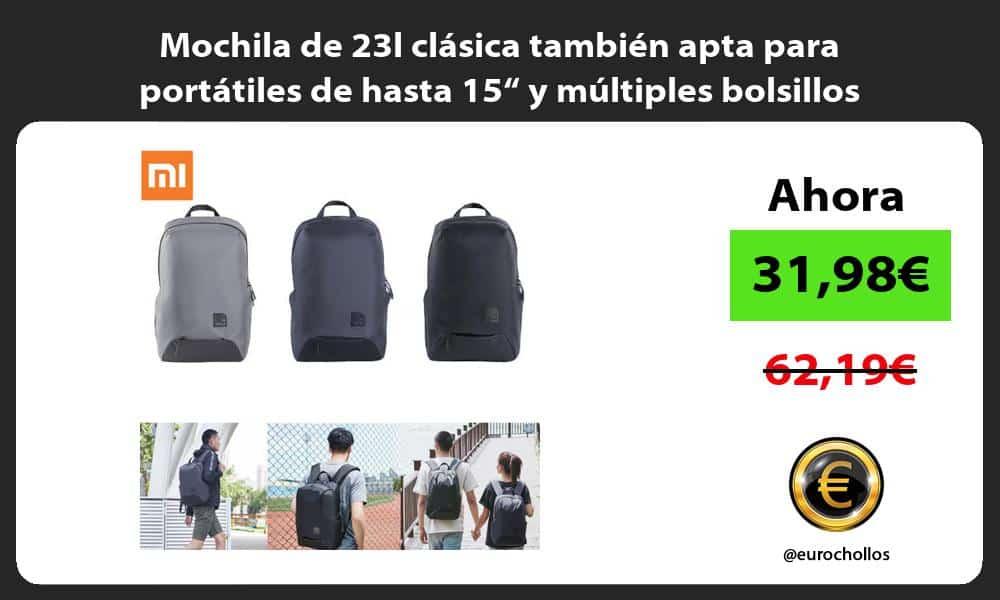 """Mochila de 23l clásica también apta para portátiles de hasta 15"""" y múltiples bolsillos"""