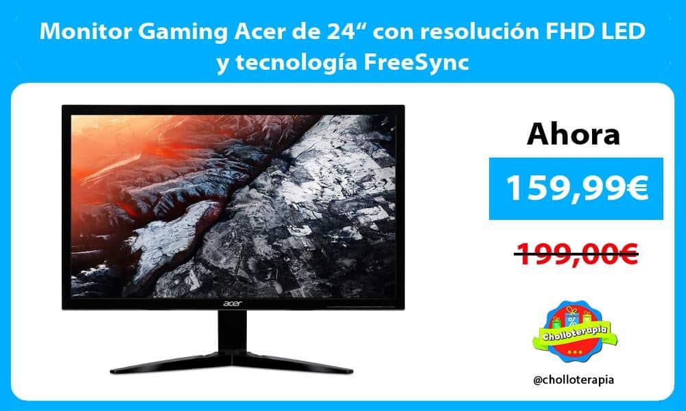 """Monitor Gaming Acer de 24"""" con resolución FHD LED y tecnología FreeSync"""