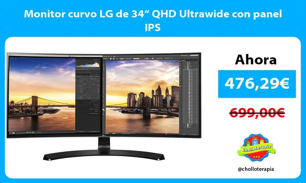 "Monitor curvo LG de 34"" QHD Ultrawide con panel IPS"