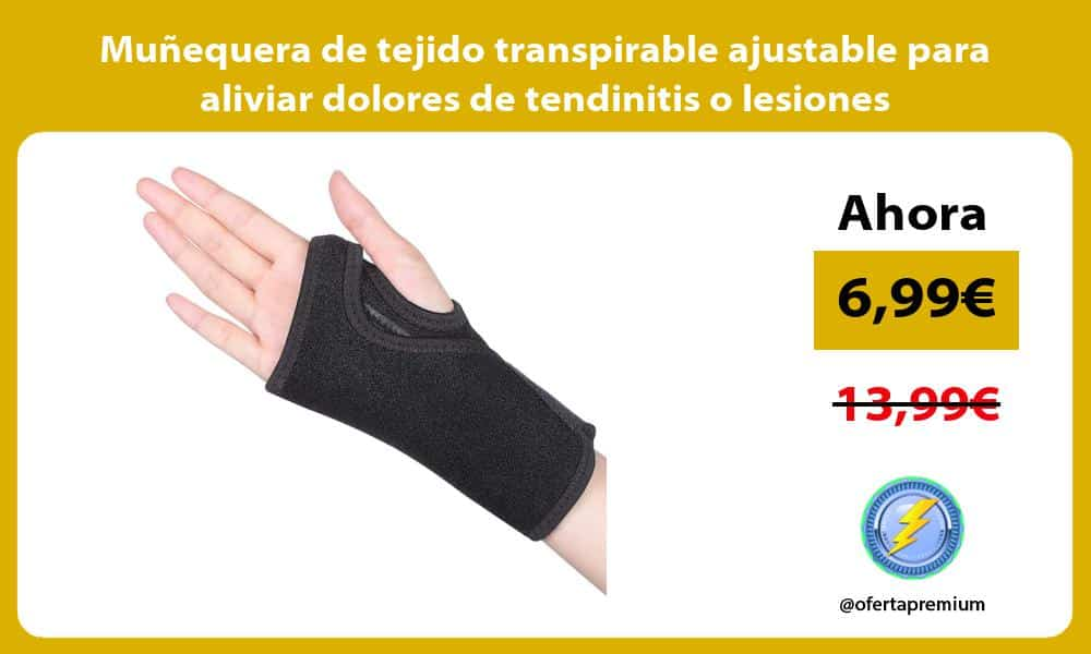 Muñequera de tejido transpirable ajustable para aliviar dolores de tendinitis o lesiones deportivas