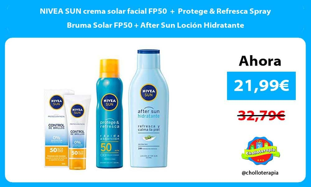 NIVEA SUN crema solar facial FP50 Protege Refresca Spray Bruma Solar FP50 After Sun Loción Hidratante