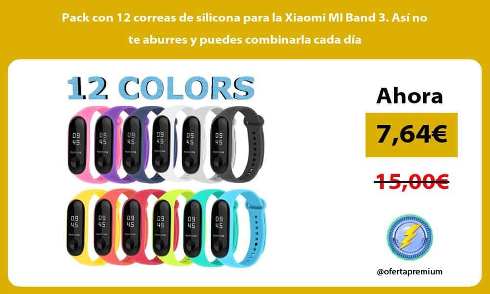Pack con 12 correas de silicona para la Xiaomi MI Band 3. Así no te aburres y puedes combinarla cada día