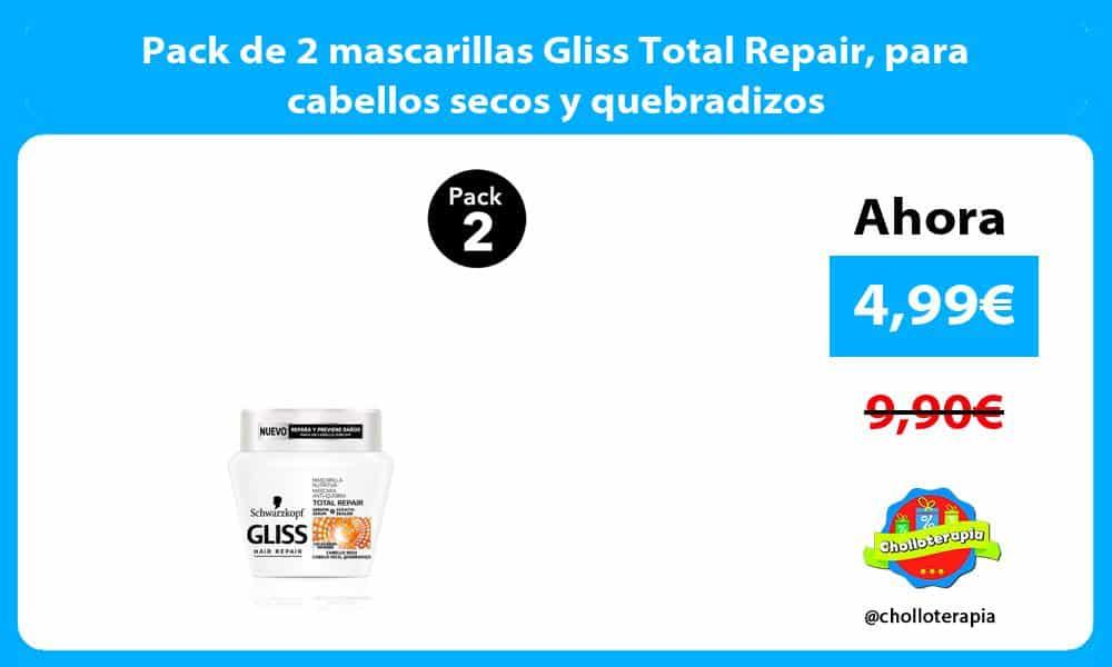 Pack de 2 mascarillas Gliss Total Repair para cabellos secos y quebradizos