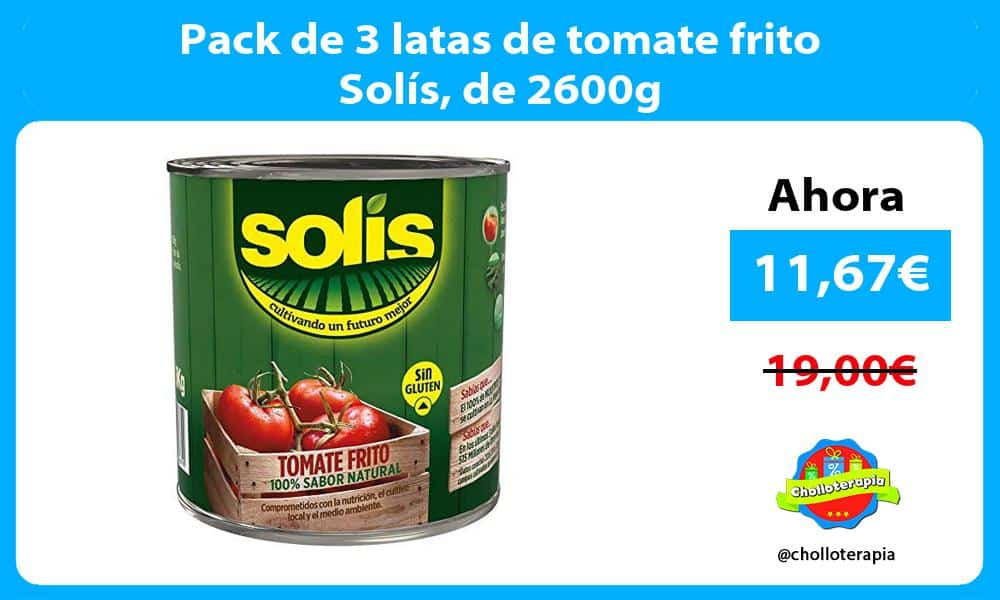 Pack de 3 latas de tomate frito Solís de 2600g