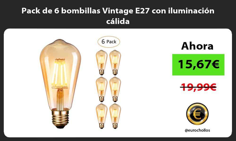 Pack de 6 bombillas Vintage E27 con iluminación cálida