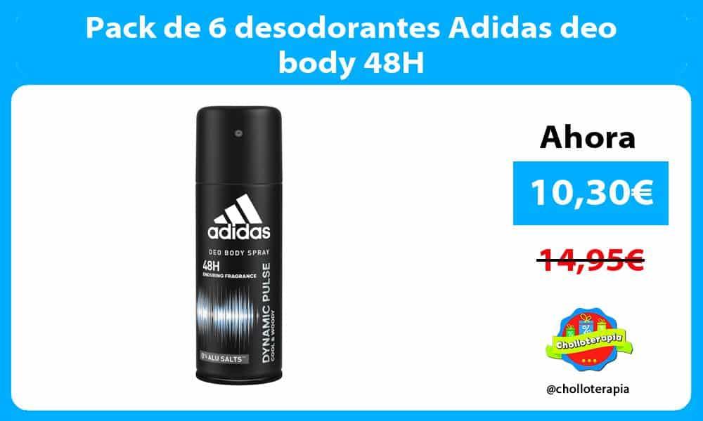 Pack de 6 desodorantes Adidas deo body 48H