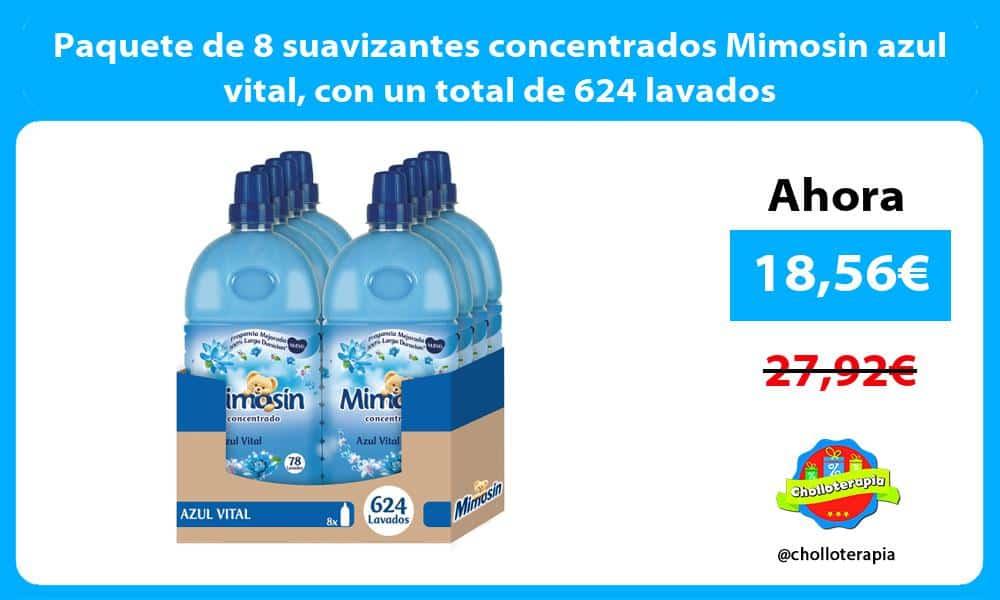 Paquete de 8 suavizantes concentrados Mimosin azul vital con un total de 624 lavados