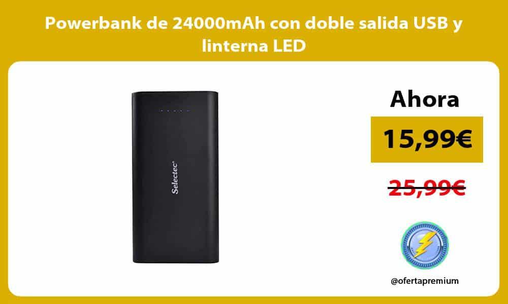 Powerbank de 24000mAh con doble salida USB y linterna LED