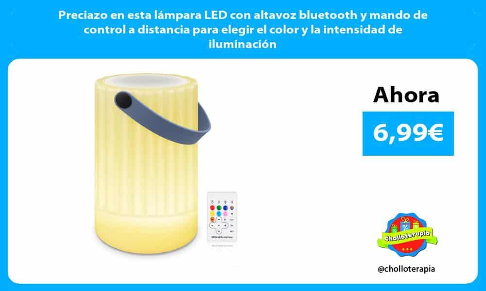 Preciazo en esta lámpara LED con altavoz bluetooth y mando de control a distancia para elegir el color y la intensidad de iluminación