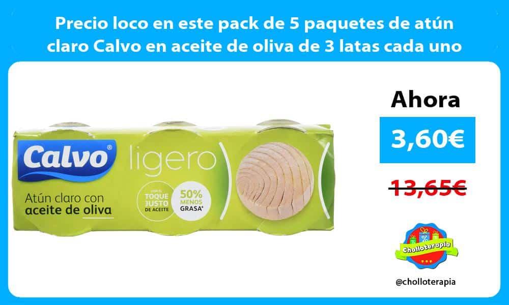 Precio loco en este pack de 5 paquetes de atún claro Calvo en aceite de oliva de 3 latas cada uno