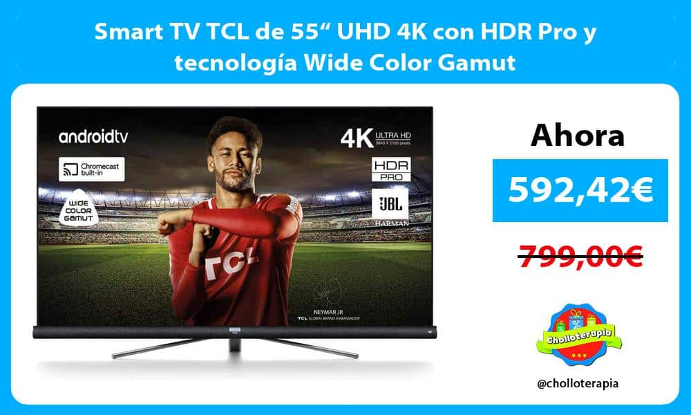 "Smart TV TCL de 55"" UHD 4K con HDR Pro y tecnología Wide Color Gamut"
