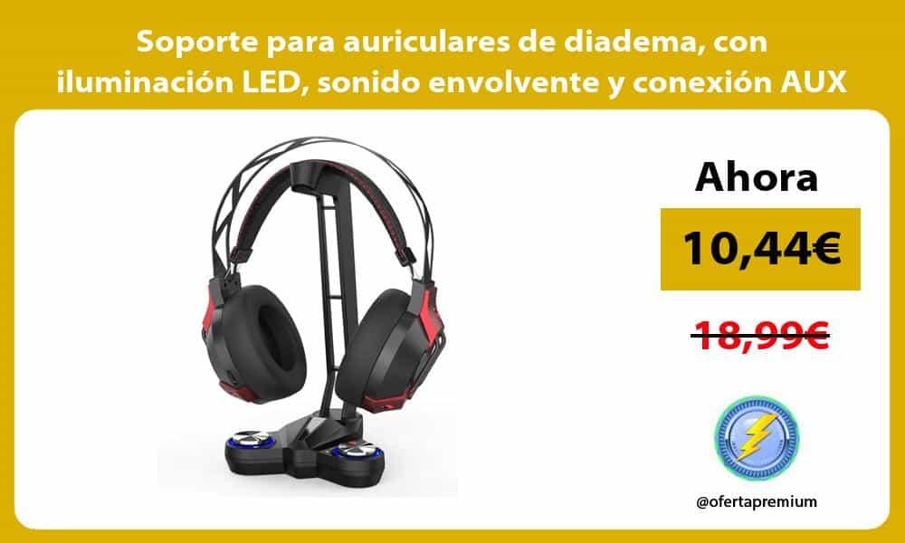 Soporte para auriculares de diadema con iluminación LED sonido envolvente y conexión AUX y USB