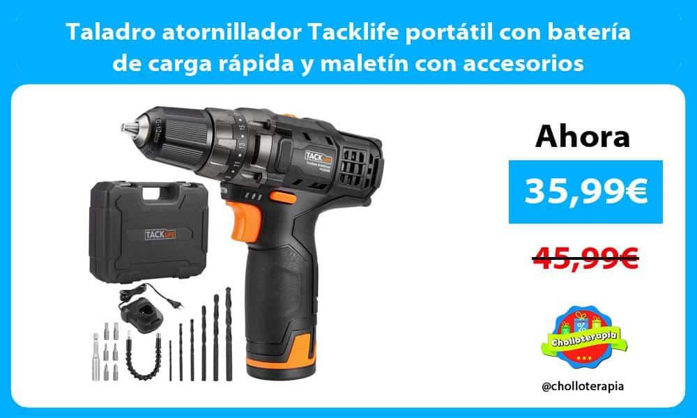 Taladro atornillador Tacklife portátil con batería de carga rápida y maletín con accesorios