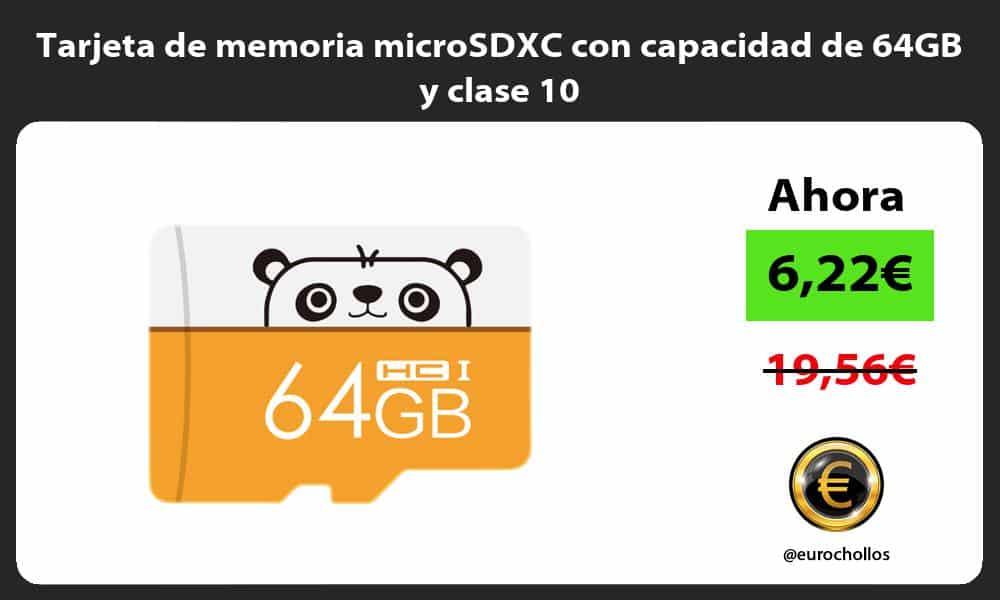 Tarjeta de memoria microSDXC con capacidad de 64GB y clase 10