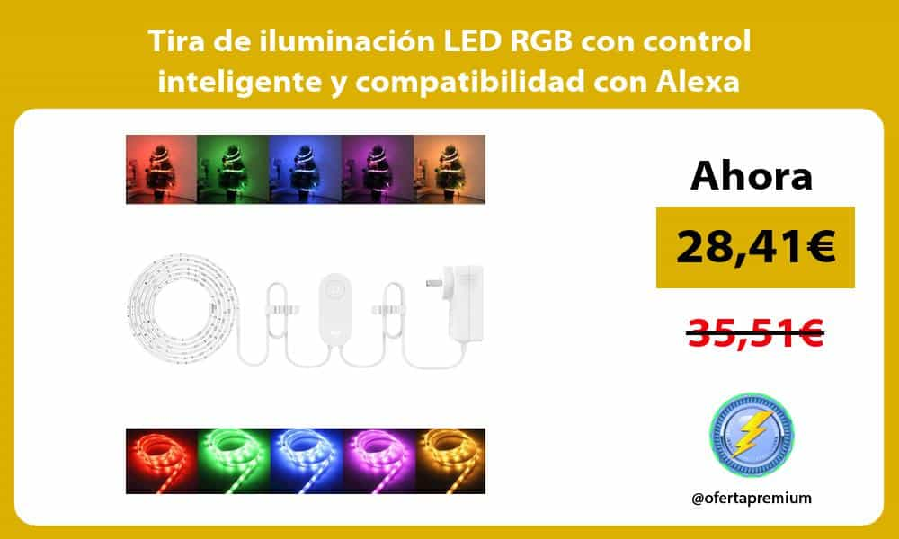 Tira de iluminación LED RGB con control inteligente y compatibilidad con Alexa