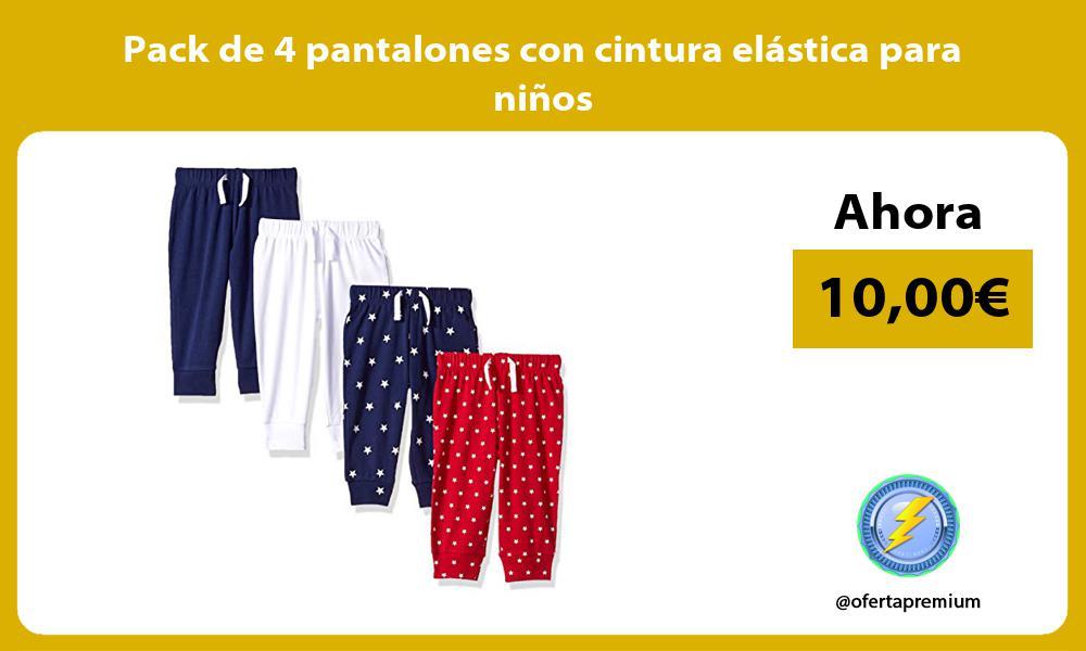 Pack de 4 pantalones con cintura elástica para niños