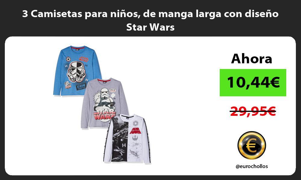 3 Camisetas para niños de manga larga con diseño Star Wars