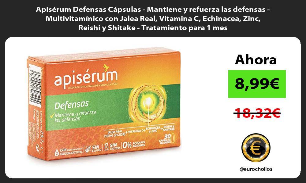 Apisérum Defensas Cápsulas Mantiene y refuerza las defensas Multivitamínico con Jalea Real Vitamina C Echinacea Zinc Reishi y Shitake Tratamiento para 1 mes
